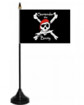 Pirate Surrender The Booty Desk / Table Flag with plastic stand and base